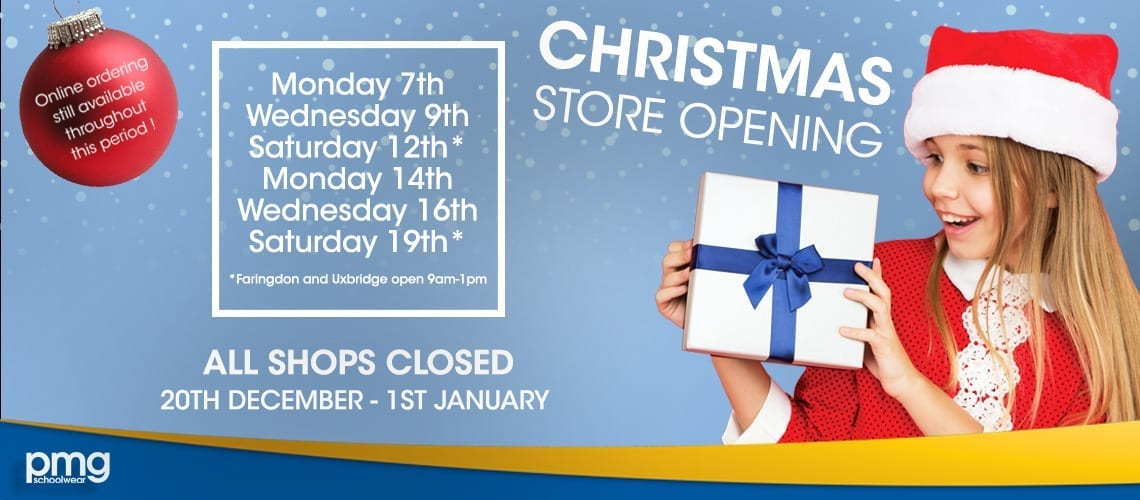 Christmas open times for PMG Schoolwear in Ipswich