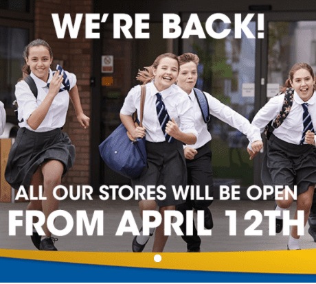 All our stores will be open from April 12th