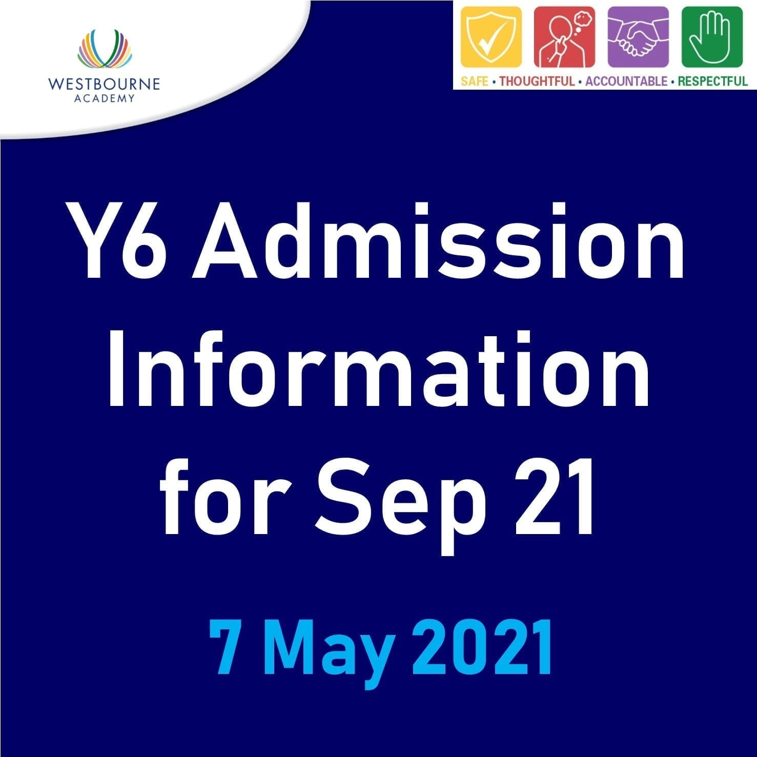 Y6 admission information for Sep 21